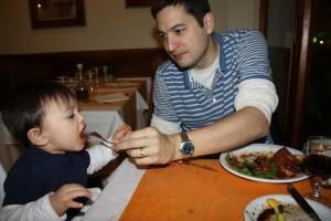 Our boy eating wild boar dish in Florence, Italy. well...the restaurant got his fave Italian bread:)