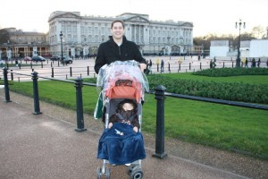 Daddy and Nicky in front of Buckingham Palace
