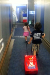 These kids  know what they're doing - they're born to travel.