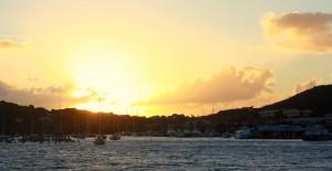 Sunset over Red Hook port