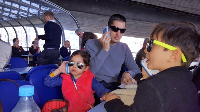 Attentively listening to the audio guide - 8 different languages available.