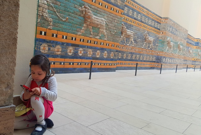 Inside Pergamon Museum - Arianna was listening to the audio guide. don't underestimate your kids; they're way too smart than you think;)