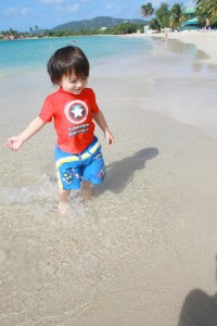Crystal Clear water, our boy loves spotting fish.