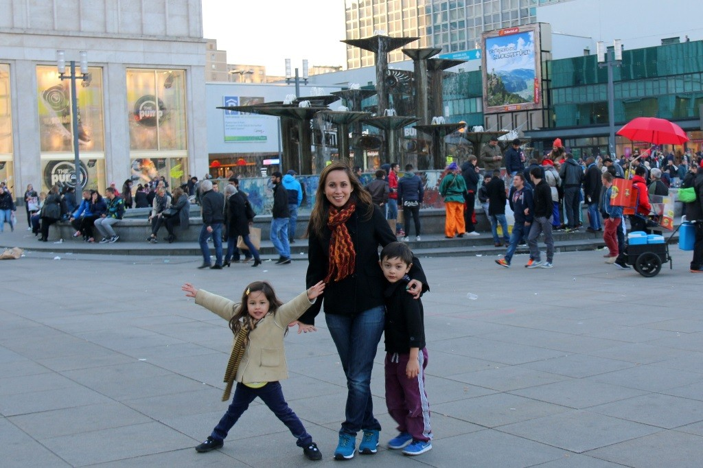 With my kids at friendship fountain - it is one of the square's most popular attractions.