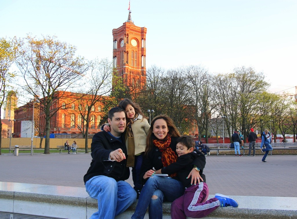 It was a nice clear day in Berlin. Background - Rotes Rathaus (Red City Hall) of Berlin