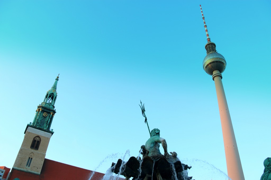 St. Mary Church, Neptune Fountain and The Fernsehturm (TV Tower)
