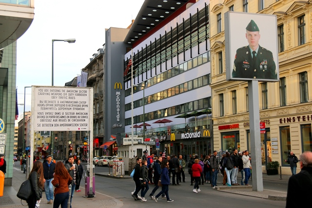 Checkpoint Charlie - crossing point between east and west Berlin during the cold war.
