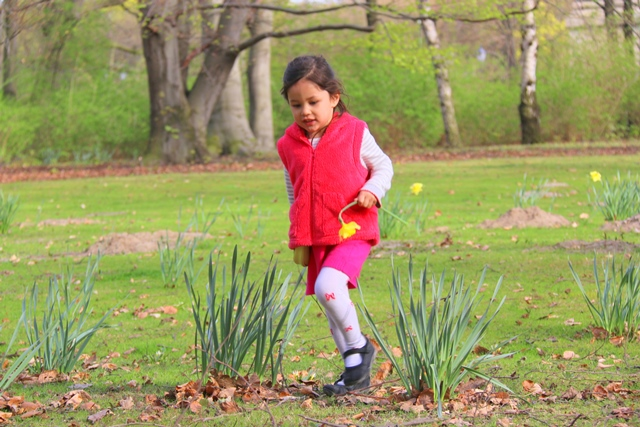 Our girl playing at Tiergarten; she picked a flower for Mommy:)