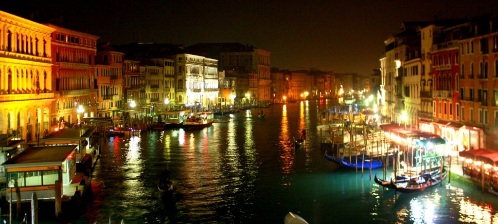 Magical View from Rialto bridge at night:) And lots of pier all around the canal...