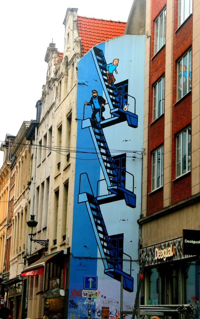 one of the Tintin murals around Brussels