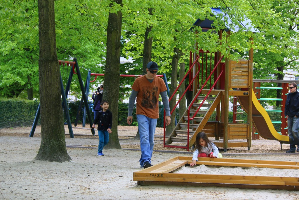 Kids playground in the middle of the park.